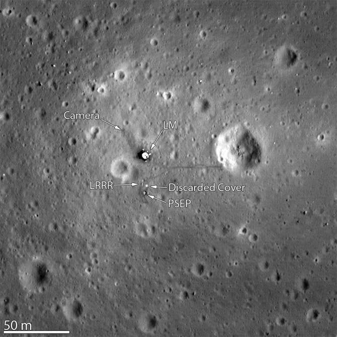 orbital photo of Apollo 11 landing site